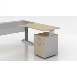 Oural - Retour secrétaire avec forme pour bureau rectangulaire + caisson porteur